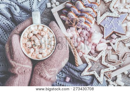 Hot Chocolate With Marshmallow Candies. Warming Holiday Drink With Gingerbread Cookies. Warm Christm