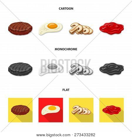 Vector Illustration Of Burger And Sandwich Symbol. Collection Of Burger And Slice Stock Symbol For W