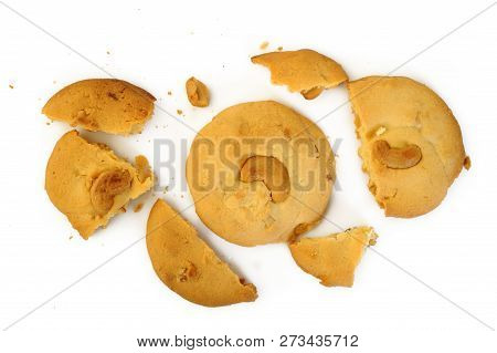 Homemade Cookies With Cashew Nut On Background