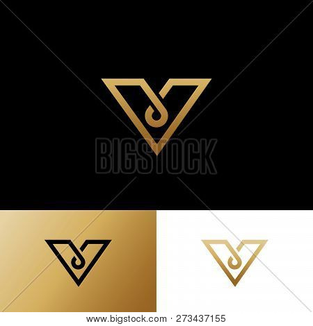 V letter.  V monogram. Logo consist of gold line as triangle shape with a drop or loop. Identity. Web, UI icon. poster