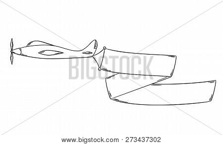 Sketch Of The Plane With Blank Advertising Flag