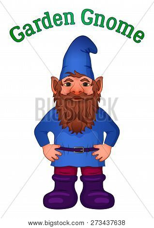 Cartoon Garden Gnome, Funny Fairy Character, Old Bearded Dwarf In Blue Cap And Big Boots, Isolated O