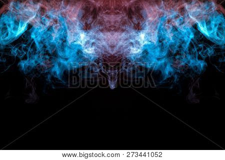The cosmic dust uniting in a fascinating pattern, interlaced with smooth waves of smoke, exuding vape, shimmering violet, pink, blue color on a dark background. poster