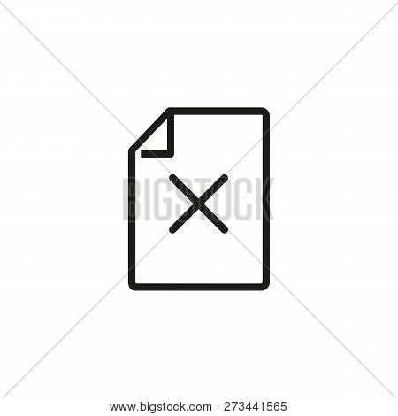 Rejected Document Line Icon. File And Access Denied Sign. Rejection Concept. Can Be Used For Topics