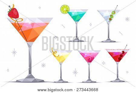 Martini Cocktail Glasses On White Background. Margarita, Blue Lagoon, Daiquiri, Cosmopolitan, Dry