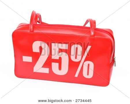 red leather handbag with sale sign on white background photo does not infringe any copyright poster