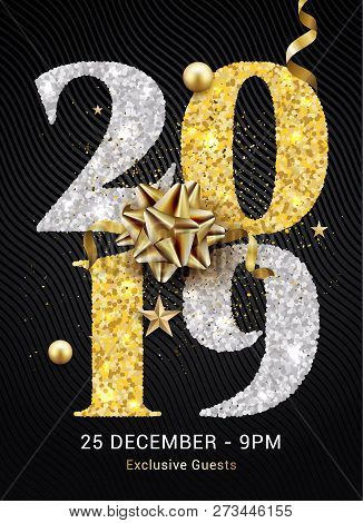 Luxury Christmas Golden Glitter 2019 Typography. New Year Background Decoration Holiday Greeting Car