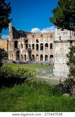Colosseum And Constantine Arch, Rome. Rome Architecture And Landmark.