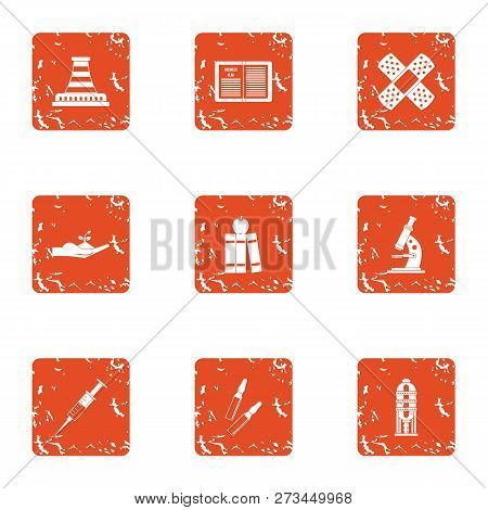 Difficult Material Icons Set. Grunge Set Of 9 Difficult Material Icons For Web Isolated On White Bac