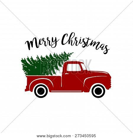 Vintage Red Pickup Truck With Christmas Pine Tree