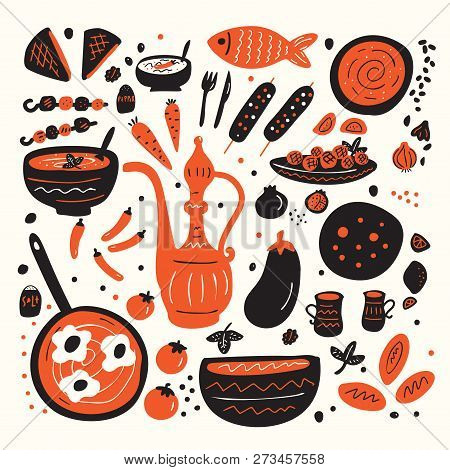 Middle Eastern Food. Set Of Hand Drawn Illustration Of Different Tradishional Middle Eastern Dishes