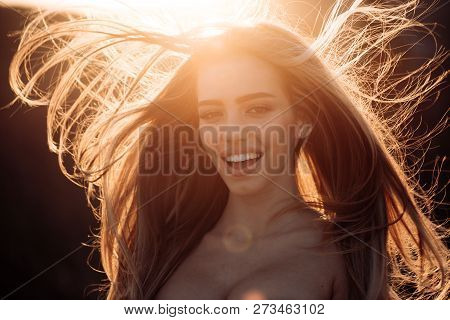 Perfect Hair. Blonde Brunette Long Hair. Happy And Beatiful Woman. Perfect Woman Smiling On Sunny Ba