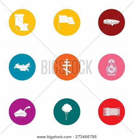 Russian validity icons set. Flat set of 9 russian validity icons for web isolated on white background poster
