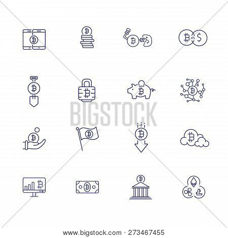 Bitcoin Icon Set. Set Of Line Icons On White Background. Crypto Currency Concept. Piggy Bank, Bitcoi
