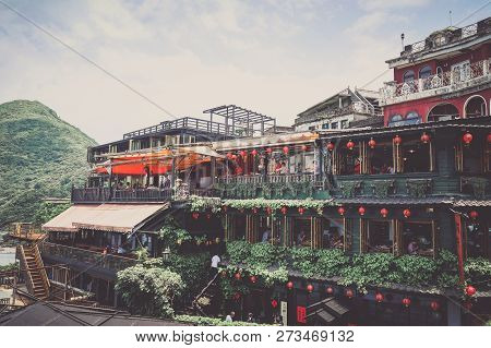 Jiufen, Taiwan - April 23, 2018 : The Famous Building At Jiufen Old Street, Taiwan.