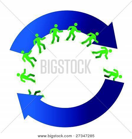 socialmedia networking movement cycle illustration design on white