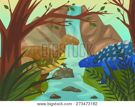 Dinosaur At Forest Or Meadow With Waterfall. Velociraptor And Stegosaurus Near Tree And Mountain Or