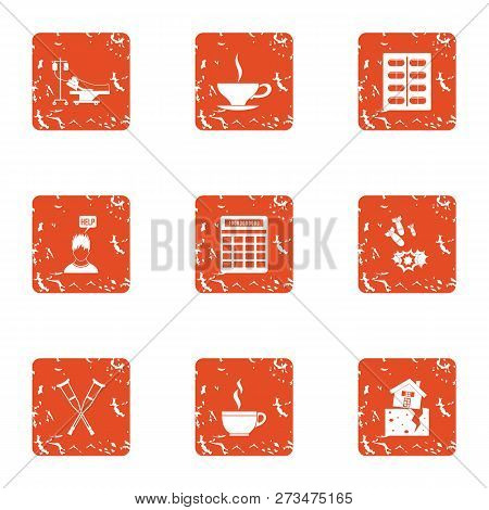 Tea Conversation Icons Set. Grunge Set Of 9 Tea Conversation Icons For Web Isolated On White Backgro