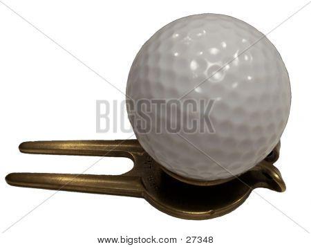 Golf Ball On Top Of Ball Divot Fixer