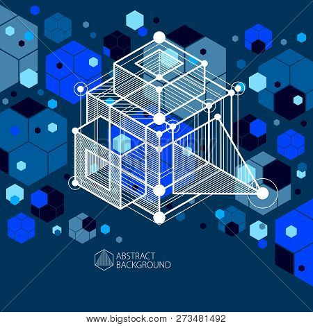 Engineering Technology Vector Dark Blue Backdrop Made With 3d Cubes And Lines. Engineering Technolog