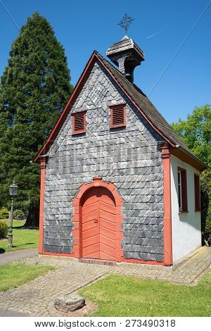 Small Old Chapel In Odenthal, Typical Village Of The Bergisches Land, Germany