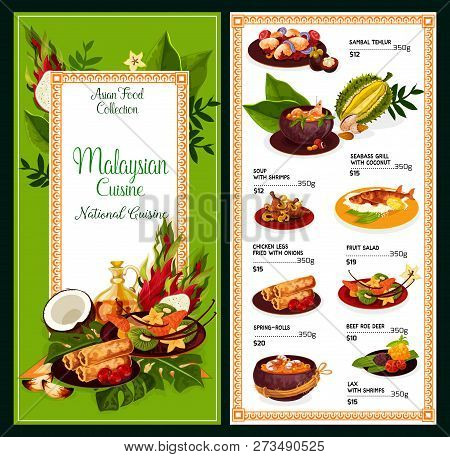 Malaysian Cuisine Meals Menu. Vector Asian Traditional Dishes Of Sambal Tehlur, Shrimps Soup Or Seab