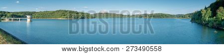 Panoramic View To Te Large Water Reservoir Of Dhuenn River, Odenthal, Germany