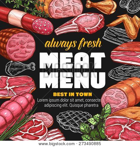 Butcher Shop Meat Products And Sausages Sketch Menu Design. Vector Farm Butchery Beef, Pork Bacon Or