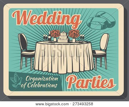 Wedding Party Celebration, Marriage And Family Holiday, Event Arrangement Or Organization. Vector Ta