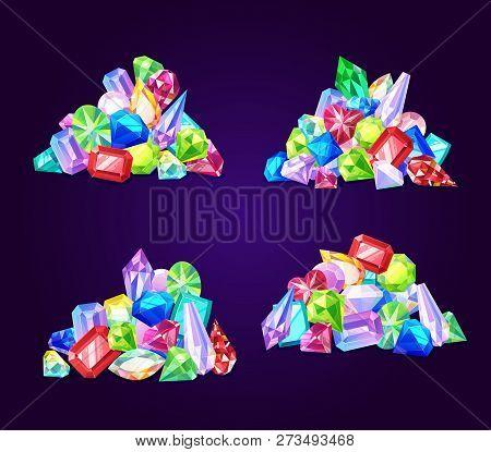 Gemstone Crystals, Gem Jewel Stones And Minerals. Vector Sparkling Brilliant Diamond, Emerald Or Sap
