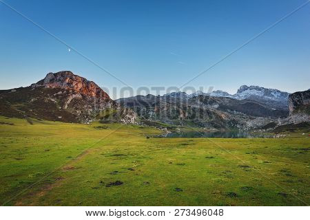 Covadonga Lakes Landscape At Dusk, Asturias Spain.