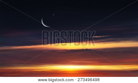 Paradise Heaven . Red Sunset And Moon . Ramadan Background . Half Moon And Star . Beautiful Star . S