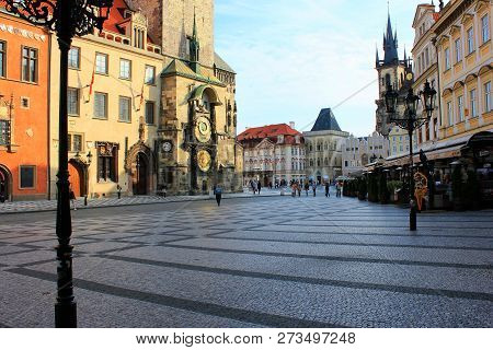 Prague, Czech Republic - September 4, 2016: Old Town Square In Prague Is A Historic Square In The Ol