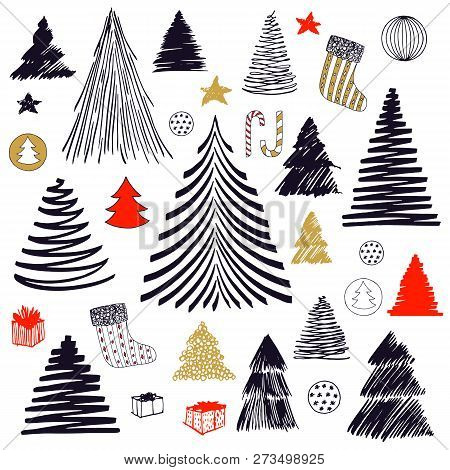 Big Set Of Christmas Tree Doodle. Hand Drawn Vector Graphic Sketch Illustration. Isolated Stock Elem