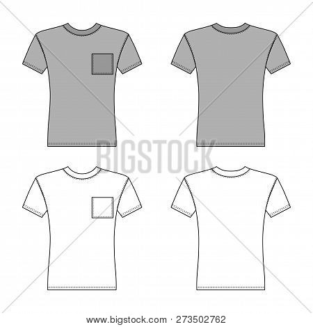 T Shirt Man Template (front, Back Views), Vector Illustration  On Background