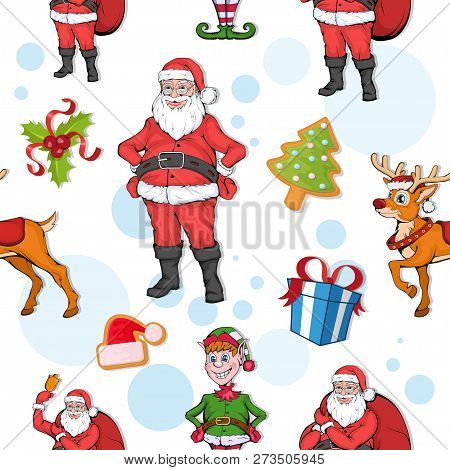 Set Of Seamless Christmas Pattern. Set Of Different Pattern For Christmas. New Year Pattern In The F