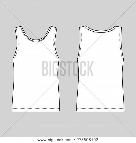 Singlet Man Template Front Back Views Vector Ilration Isolated On White Background