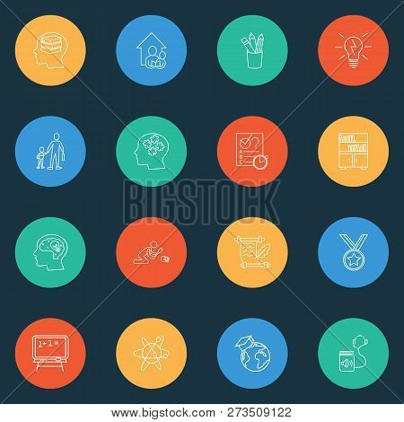 Education Icons Line Style Set With Primary School, Blackboard, Astrophysics And Other Graduate Elem