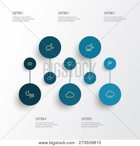 Air Icons Line Style Set With Cloudy Sky, Sunshine, Blizzard And Other Wind Elements. Isolated Vecto