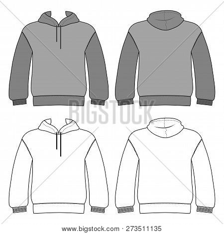 Hoodie Man Template (front, Back Views), Vector Illustration Isolated On White Background