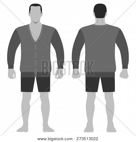 Fashion Man Body Full Length Template Figure Silhouette In Shorts And Cardigan (front, Back Views),