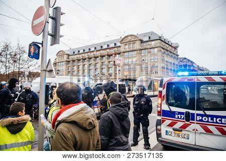 Strasbourg, France - Dec 8, 2018: Police Surveilling The Entrance To Strasbourg Christmas Market Nea