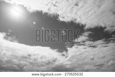 Blue Sky Bright Sun Between White Clouds. Weather Forecast Tropic Island St, Johns Antigua. Heat Tro