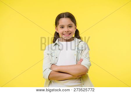 Cheerful And Confident. Little Girl With Cute Smile. Casual Look And Fashion. Feel Casual And Confid