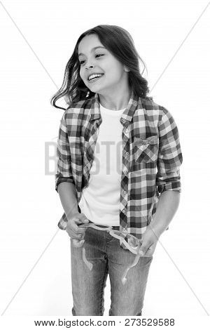 Kid Fashion. Fashion For Kid. Happy Kid Isolated On White. Fashion Model Child. Fashion Kid In Check