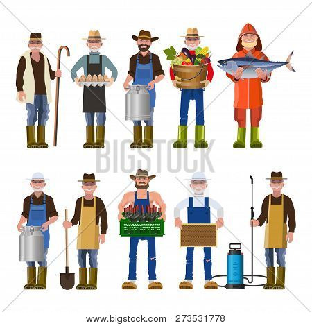 Set Of People Of Different Agricultural Professions. Vector Illustration Isolated On White Backgroun