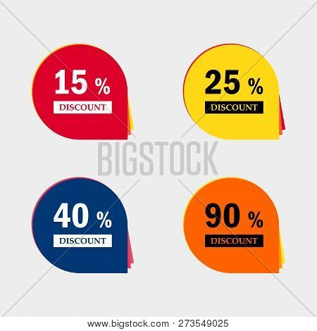 Sale Discount Icons. Special Offer Price Signs. 15, 25, 40 And 90 Percent Off Reduction Symbols .
