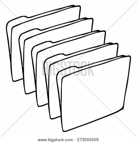 Set Folder For Files Icon. Vector Illustration Folder For Documents. Hand Drawn Set Folder With File