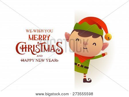 Cute Elf Stands Behind Signboard Advertisement Banner With Text Merry Christmas And Happy New Year V