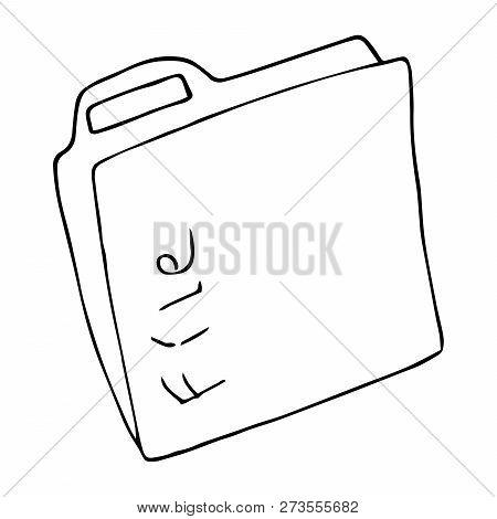Folder For Files Icon. Vector Illustration Folder For Documents. Hand Drawn Folder With Files, Docum